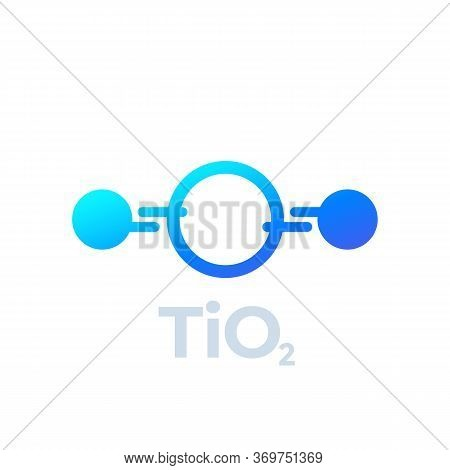 Titanium Dioxide Molecule Icon On White, Vector, Eps 10 File, Easy To Edit