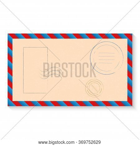 Vector Illustration Of Open Blank Airmail Envelope With Rubber Stamp