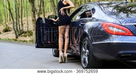 Sex In Car. Luxury Car. Escort And Sexual Services. Seductive Pose. Driver Girl. Beauty And Fashion.