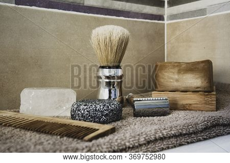 Zero Waste Bathroom Accessories For Men: Wooden Comb, Potassium Alum Salt Deodorant, Aleppo Soap And