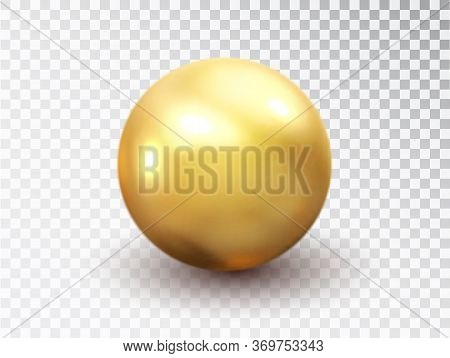 Golden Sphere Isolated On Transparent Background. Golden Glossy 3d Ball With Glares. Round Shape, Ge