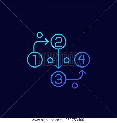 Methodology Linear Icon On Dark, Eps 10 File, Easy To Edit