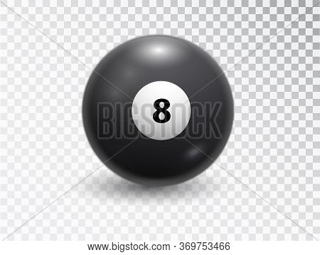 Magic Ball Of Predictions For Decision-making. Eight Billiard Balls Isolated On Transparent Backgrou