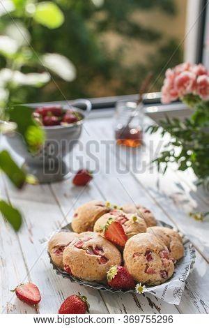 Selective Focus On Strawberry Scones, Summer Breakfast