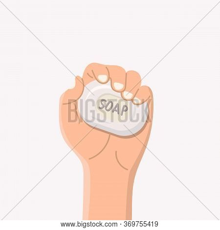 A Piece Of Soap In A Male Hand A Top View On A Bright Background Vector Illustration. The Human Hand