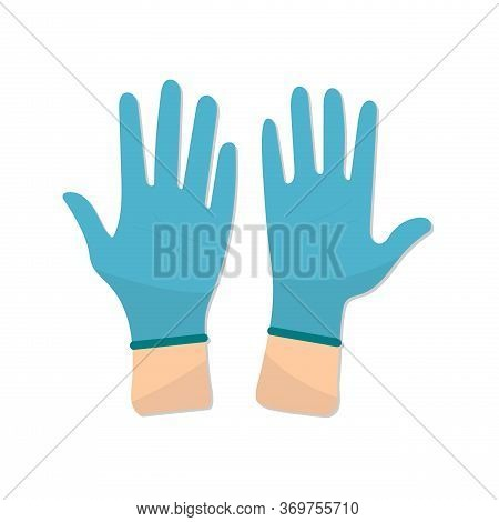 The Nurse Or Doctor Wears Blue Disposable Gloves. Flat Design.vector Illustration Stock. Hands Putti