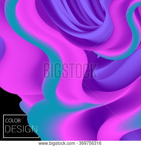 Vibrant Design. Liquid Color. Fluid Background. Colorful Futuristic Poster. Abstract Flow. Vibrant C