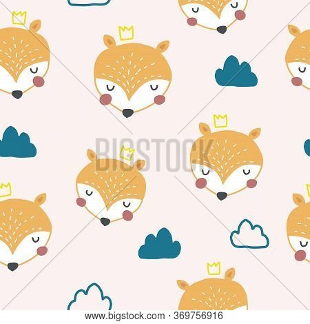 Seamless Pattern With Cute Orange Foxes And Hand Drawn Clouds In Nordic Style. Scandinavian Style Ch