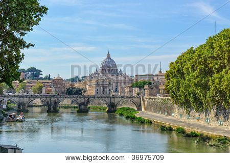 St. Peter's Basilica And A Bridge Santangelo
