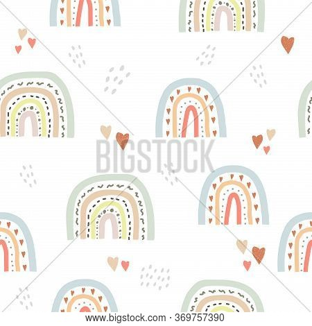 Seamless Cute Pattern In Scandinavian Style For Kids, Children. Rainbow And Hearts Stars Background.