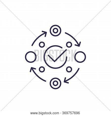 Methodology Icon On White, Line, Eps 10 File, Easy To Edit