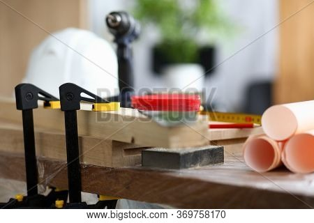 Close-up Of Constructional Materials, Instruments And Equipment For Carpentry Work And Repair House.