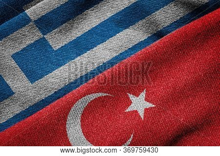 3d Rendering Of The Flags Of Greece And Turkey Woven Fabric Texture. Detailed Textile Pattern And Gr