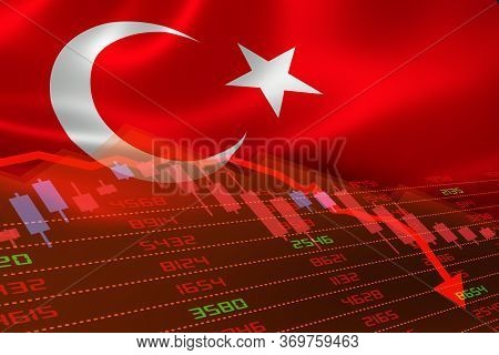 3d Rendering Of Turkey Economic Downturn With Stock Exchange Market Showing Stock Chart Down And In