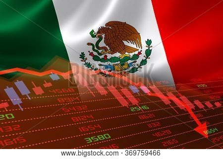 3d Rendering Of Mexico Economic Downturn With Stock Exchange Market Showing Stock Chart Down And In