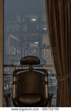 Bangkok, Thailand - 22 Mar 2020 :  Comfort Chair In Living Room And City View At Home, Condominium I