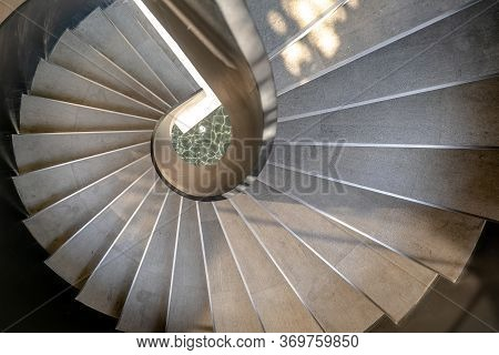 Bangkok, Thailand - May 15, 2020 : Upside View Of A Spiral Staircase Pattern. Spiral Stairs Circle I