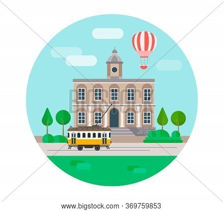 Round Poster In The Center Of The Old Year, The Town Hall And The Tram Crossing The Square, Travel A