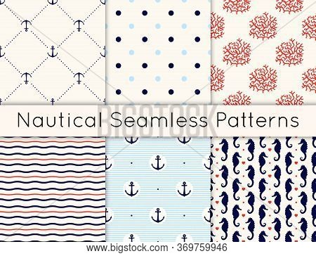 Set Of 6 Vector Seamless Nautical Patterns With Anchors, Sea Horses, Corals, Hearts, Wavy Lines And
