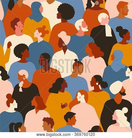 Concept On The Theme Of Racism. Stop Racism. The Image Of Protesting People, Equality. Black Lives M