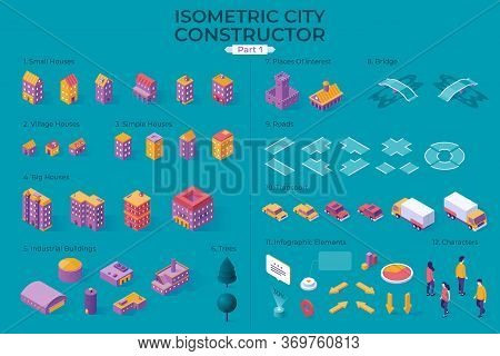 Isometric City Map Or Plan Constructor Or Generator. Collection Of Residential And Industrial Buildi