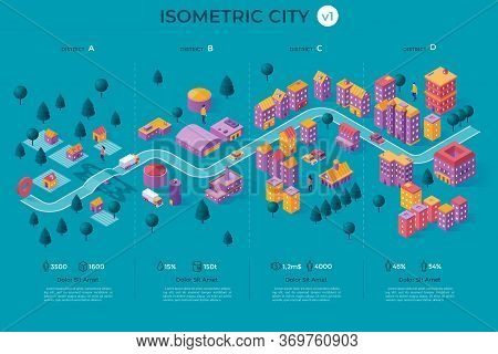 Infographic Poster With City Map, Living And Industrial Buildings, Infrastructure Objects, Location