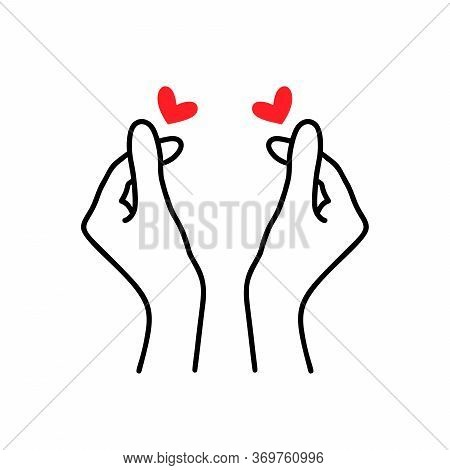 Korean Heart Sign. Finger Love Symbol. Happy Valentines Day. I Love You Hand Gesture. Vector Illustr