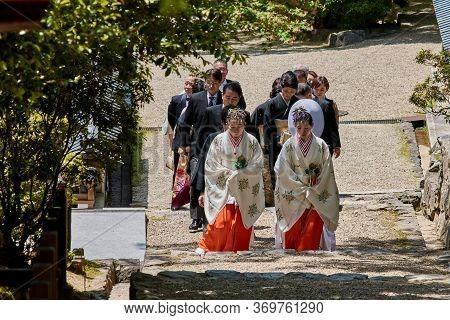 Japanese Wedding Ceremony In Shinto Shrine In Nara, Japan