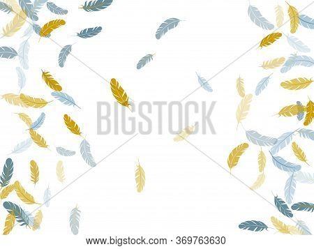 Tender Silver Gold Feathers Vector Background. Plumage Bohemian Fashion Shower Decor. Smooth Plumele