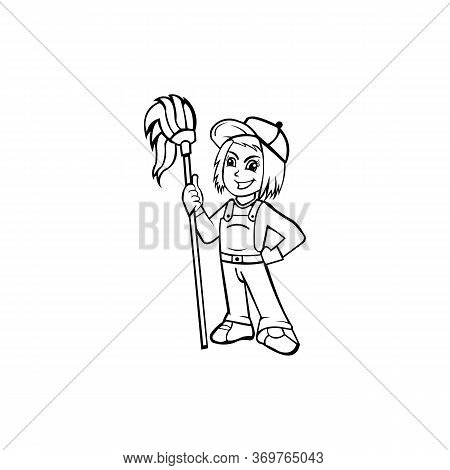 Women In Uniform With Professional Tools For Cleaning And Wash, Multi Purpose Janitorial Cleaning Se