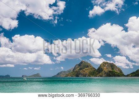 El Nido, Palawan, Philippines. Mountains, Cloudscape And Ocean Lagoon At Tropical Las Cabanas Beach