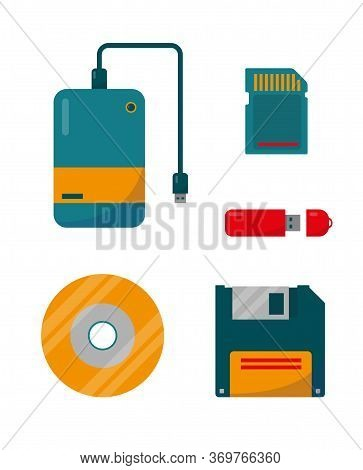Set Of External Storage. Digital Data Devices Icons Isolated On White Background. Vector Illustratio