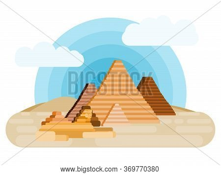 Egypt Giza Desert Pharaohs And Pyramids With Sphinx. Flat Style Vector