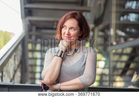 Closeup Headshot Portrait Charming Smiling Joyful Happy Mature Business Woman Looking Upwards Daydre