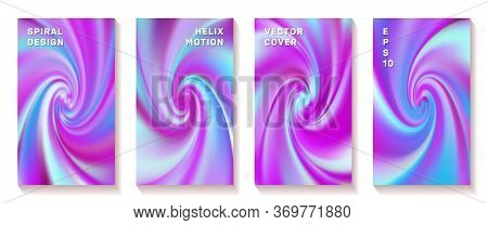Fluid Gradient Swirl Loop Cover Page Templates Vector Set. Modern Brochure Front Pages Collection. P