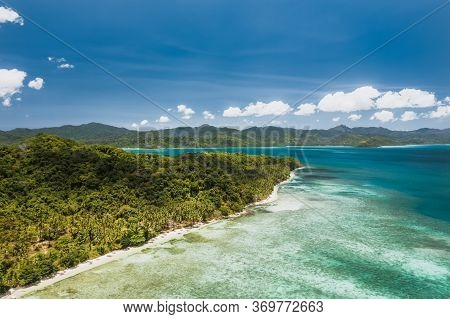 Aerial View Of Tropical Coastline With Jungle In El Nido, Palawan, Philippines