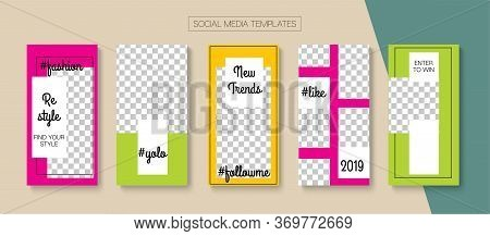 Mobile Stories Vector Collection. Simple Sale, New Arrivals Story Layout. Blogger Modern Covers, Soc