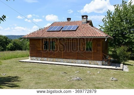 Wooden Cottage In National Park Djerdap On Danube In Serbia