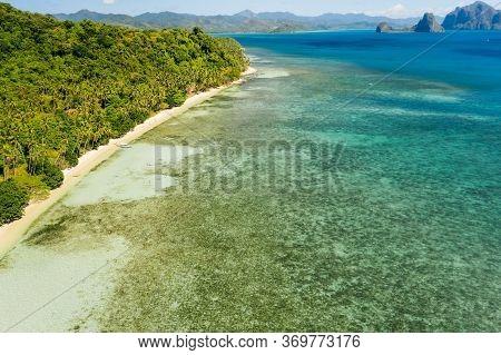 Aerial View Of Tropical Remote Beach In El Nido, Palawan, Philippines