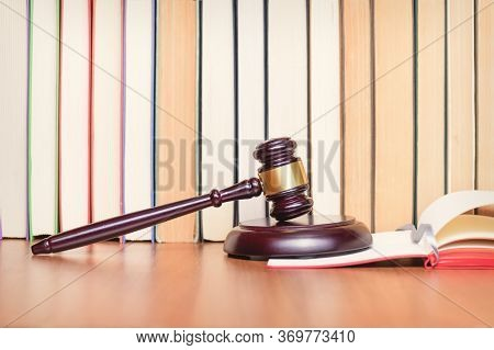 Law Books, Judge Gavel, Legal Code On Judges Wooden Table. Court Hearing. Constitutional Court. Judg