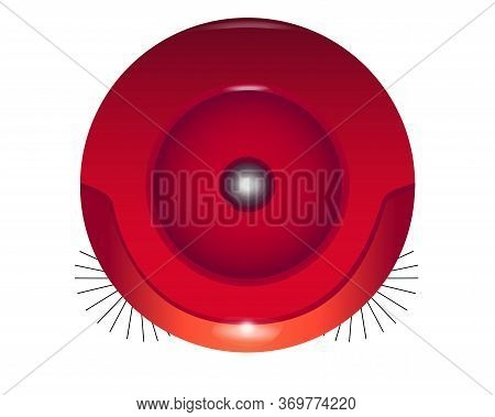 Red, Round Robot Vacuum Cleaner - Top View - Vector Full Color Picture. Robotic, Wireless, Self-cont