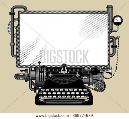 Complex iron steampunk computer with a white screen. Template, poster and techno symbol. Vintage engraving stylized drawing