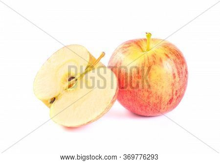 Apple Royal Gala Fruit And Half Isolated On White Background. Red Apple Fruits On White Background.