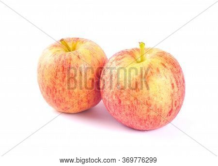Apple Royal Gala Fruits. Apple Royal Gala Fruits Isolated On White Background. Red Apple Fruits.