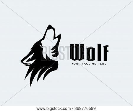 Elegant Head Roaring Wolf Art Logo Design Inspiration