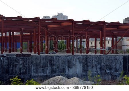 Abandoned construction site of commercial center in Kiev. June 4, 2020.Kiev, Ukraine