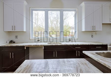 Interior Design New White Kitchen Installed Furniture Cabinets And Countertop
