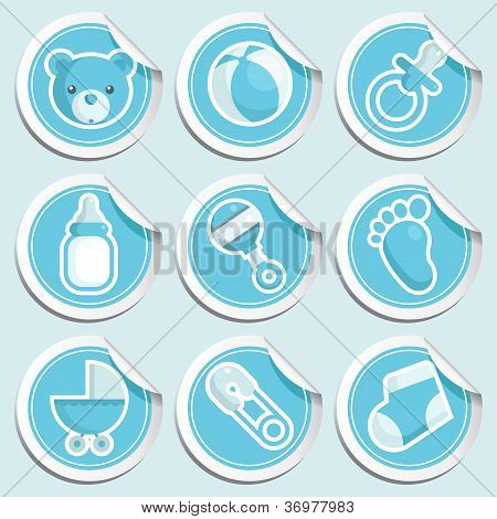 Blue Baby Shower Stickers