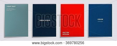 Semicircle Lines Halftone Covers Vector Collection. Abstract Brochure Title Page Layouts. Notepad, M