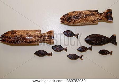 Palawan, Ph - Nov 28 - Wooden Fish Display On November 28, 2009 In Puerto Princesa, Palawan, Philipp